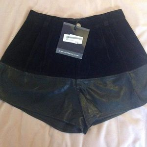 Minkpink black XS high waisted faux suede shorts